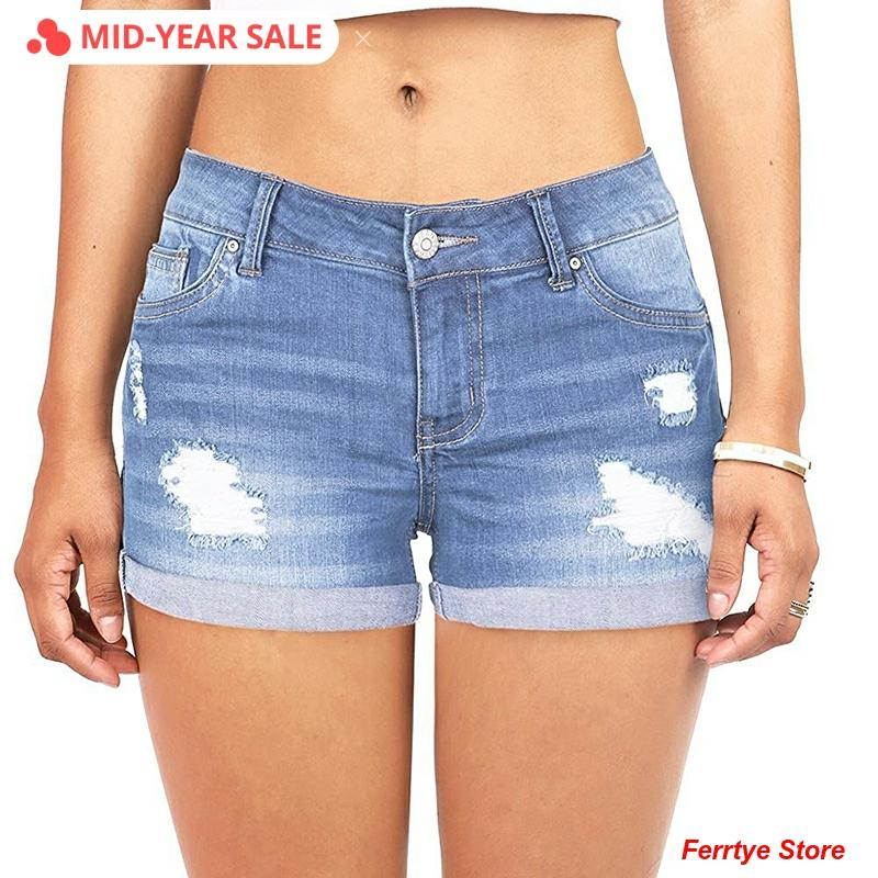Plus Size S-5XL Blue Mom Short Jeans Summer Woman Vintage High Waist Ripped Boyfriend Jeans for Women Distressed Skinny Denim
