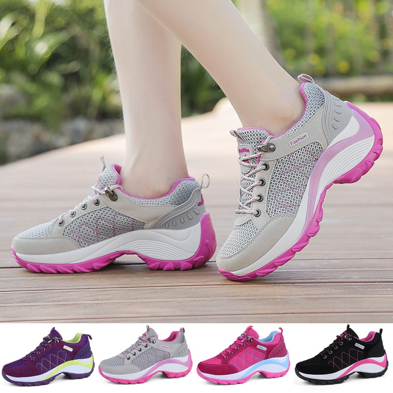 Women  Hiking Shoes Breathable Height Increasing Lace-up Climbing Sneakers Outdoor Trekking Shoes