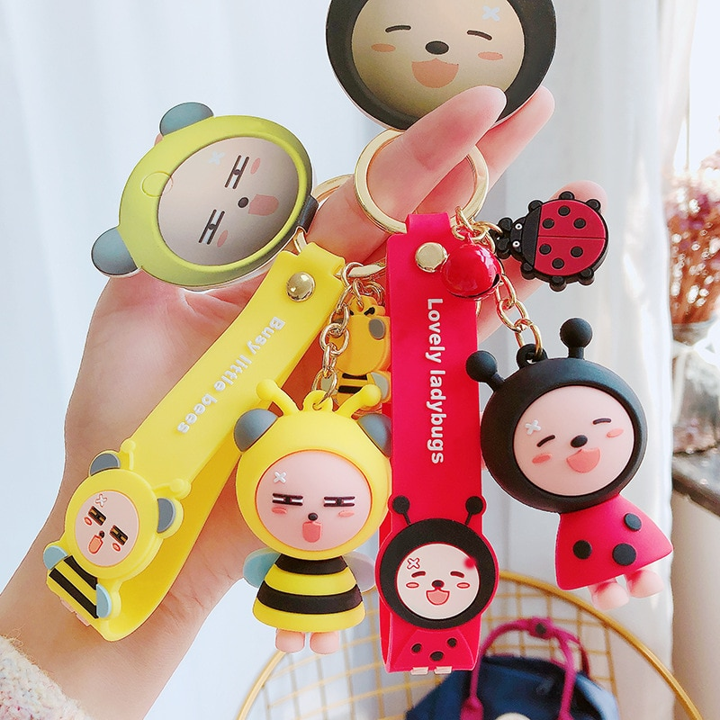 LLavero de Anime rana de dibujos animados con diseño de abeja, mariquita, mariposa, llavero para mujer con diseño de paraíso Animal, llavero para coche, accesorios para llavero