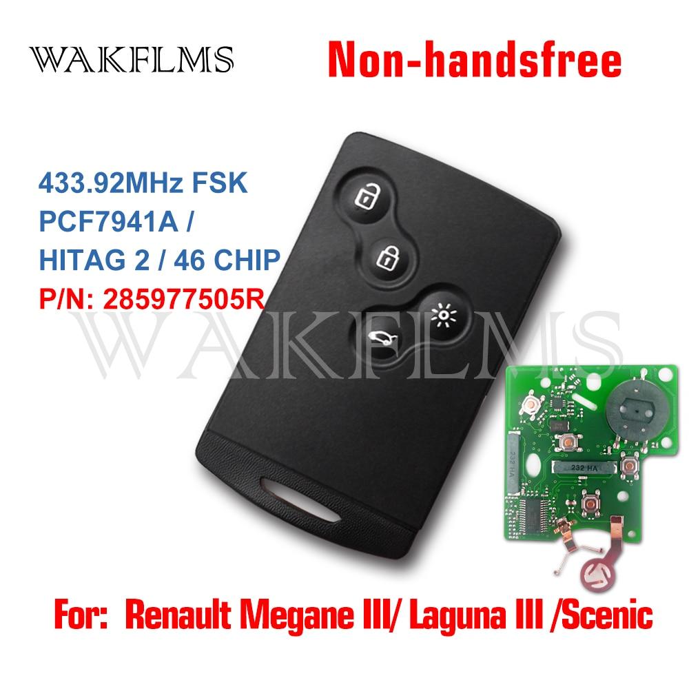 Cartão inteligente para renault megane iii fluence laguna iii scenic 2009-2015 433mhz fsk pcf7941a sem chave mãos