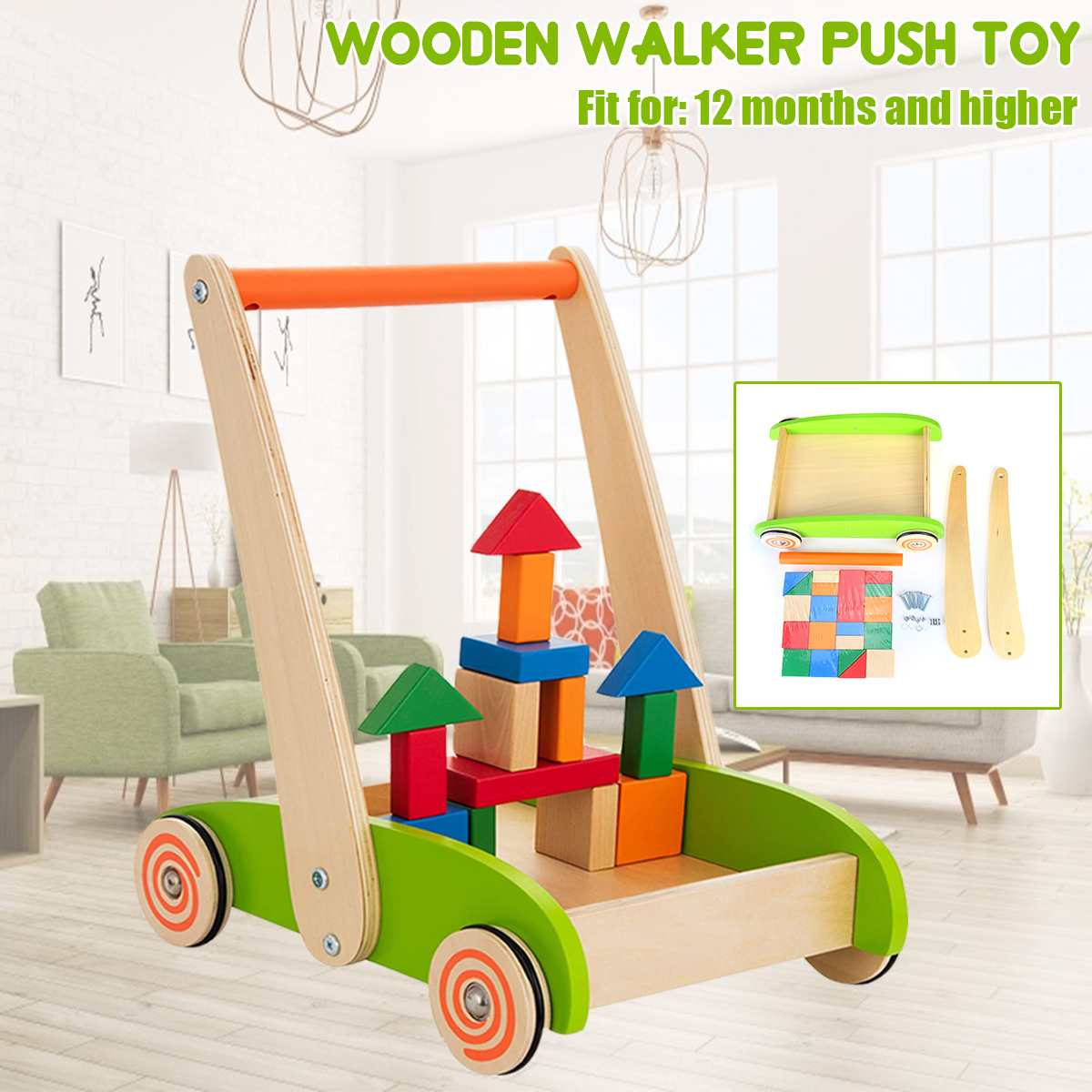Baby Walker Multifunction Infant Stand-to-Sit Toddler Four Wheels Trolley Kids Learning Walking Toddler Toys  Gift