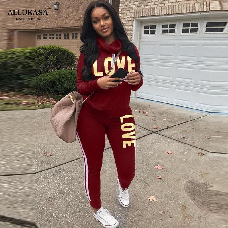 2020 Plus Size 2 Piece Set Women Outfit LOVE Letter Print High Neck Hoodies Sweatshirt Pants Tracksuit Streetwear Casual Suit