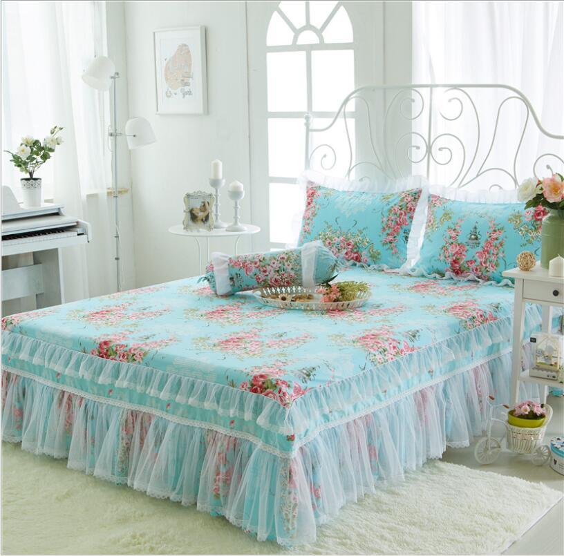 تنورة سرير ، تنورة كورية ريفية صغيرة ، سلسلة شفافة ، سرير مزدوج ، كامل ، كوين كينج