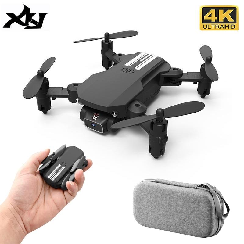 XKJ 2021 New Mini Drone 4K 1080P HD Camera WiFi Fpv Air Pressure Altitude Hold Black And Gray Foldable Quadcopter RC Dron Toy