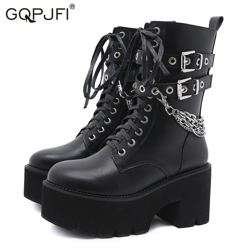 Comfortable New Europe And America Fashion Rivet Belt Buckle Martin Boots Heighten Fashion Metal Chain Decoration Women's Boots
