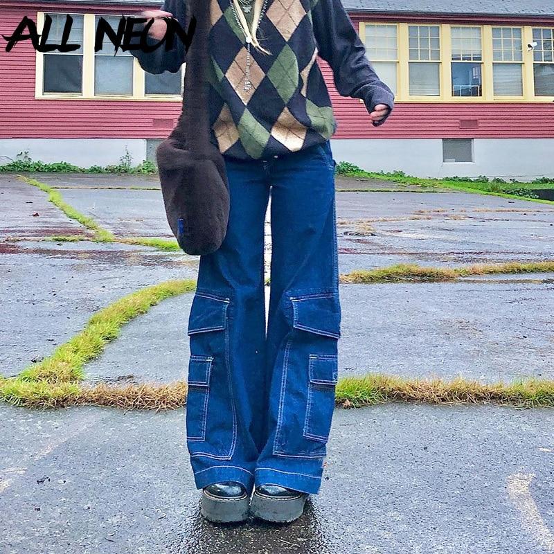 ALLNeon Y2K mode grandes poches jean ample e-girl Vintage taille haute Denim pantalon Hip Hop pantalon droit ample Streetwear