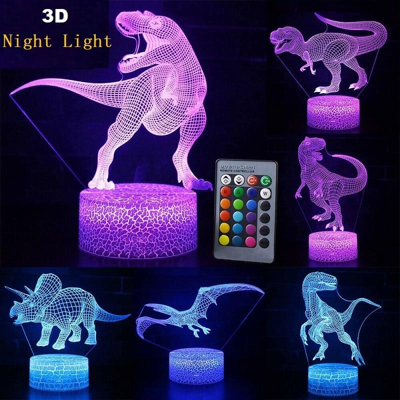 RGB 16 цветов 3D Динозавр светодиодный светильник сенсорное управление ночные светильники с пультом дистанционного управления для спальни На...
