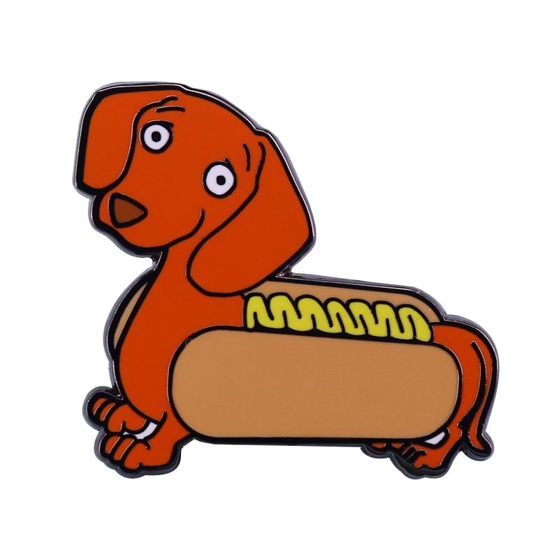 Sausage Dog Hotdog Badge Cute Dachshund Pin Funky Personality Perfect Punny Gift