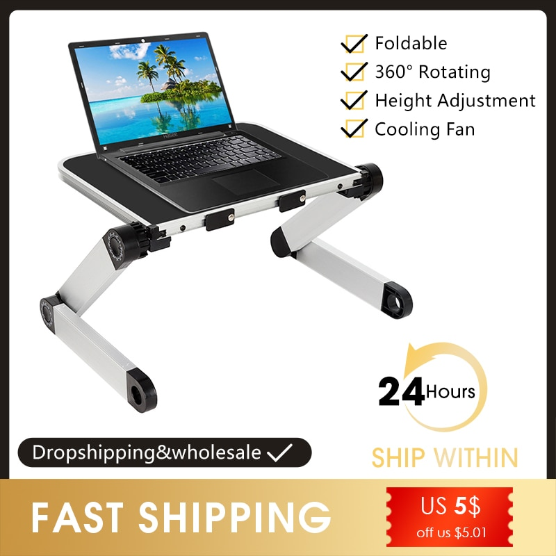 360 Degree Adjustable Computer Table Adjustable Ergonomic Laptop Stand Laptop Desk for Bed Living Room Book Stand