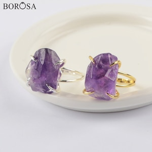 5/10Pcs Gold/SIlver Color Raw Natural Amethysts Rings Purple Quartz Adjustable Rings Polished Gems Stone Rings for Women ZG0441