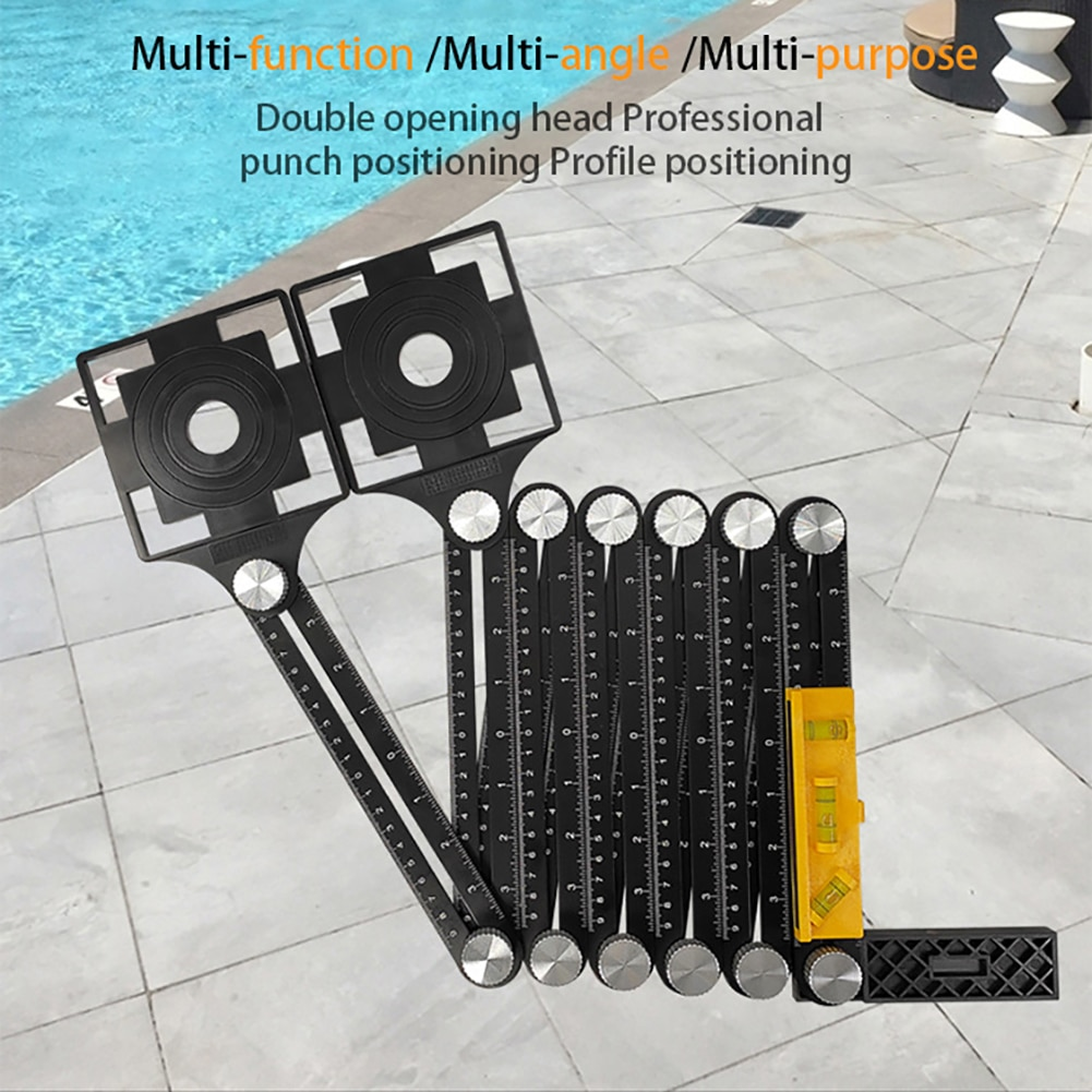 Aluminum Alloy 12 Folding Ruler Tile Opening Locator Mud Tile Shop Paste Floor Tile Glass Universal Hole Punch Hand Tool enlarge