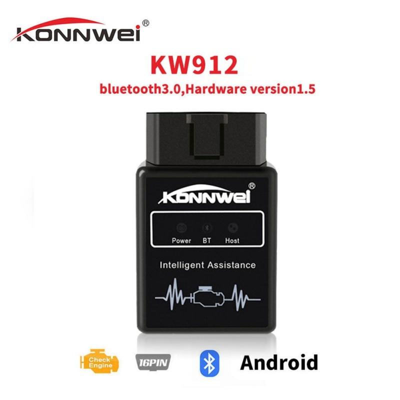 KONNWEI KW912 ELM327 Bluetooth Obd2 v1.5, escáner, herramienta de diagnóstico de coche, lector de código, escáner OBD2, herramientas Obd2 automotrices, nuevo