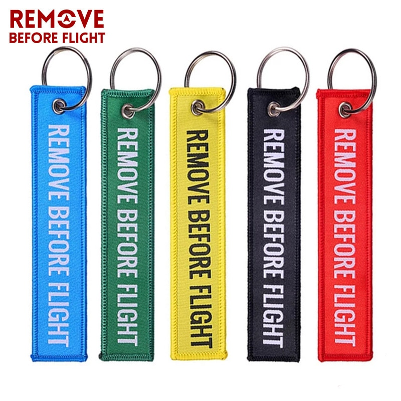 Get 100 PCS/LOT Remove Before Flight Keychains Woven Tag Special Luggage Label Red Chain Keychain for Aviation Gifts Keyring Jewelry