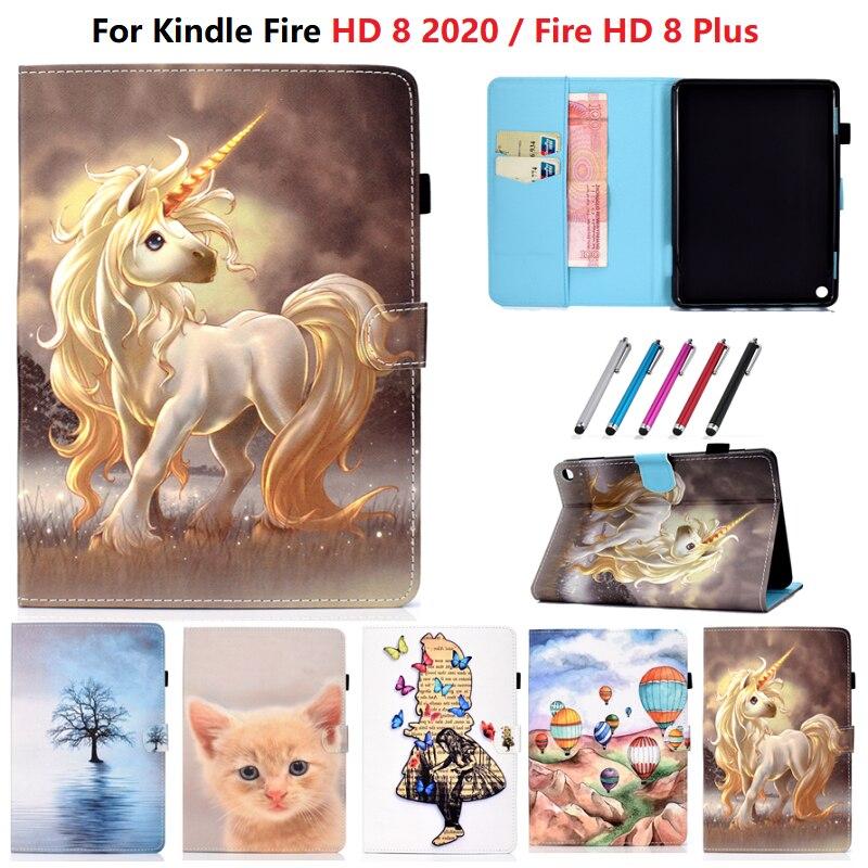 Meninas unicórnio gato tablet caso para kindle fogo hd 8 2020 caso pintado tpu pu escudo para kindle hd8 hd 8 plus capa 2020 funda crianças