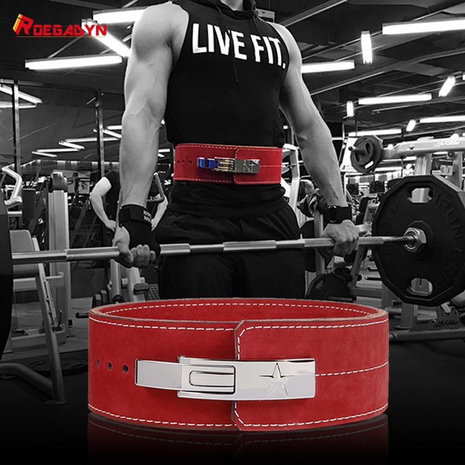 ROEGADYN Gym Körper Gürtel Taille Trainer Dip Turnhalle Gürtel Für Männer Taille Unterstützung Leder Gewichtheben Gürtel Gym Back Support fitness