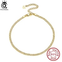 orsa jewels 925 sterling silver cuban chain anklets fashion women summer 14k gold foot bracelet ankle straps jewelry gifts sa11