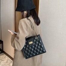 Sacs à bandoulière en treillis pour femmes femme grande capacité en cuir PU sacs fourre-tout dames chaîne sacs à main solide tronc bolsas de hombro