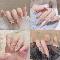24pcs fake nails with design bow rhinestone detachable aurora false nails wearable glitter full cover nail tips butterfly decal