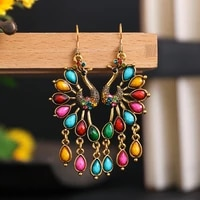 ethnic peacock drop earrings for women girls bohemian classic retro vintage style colorful dangle earrings holiday jewelry gifts
