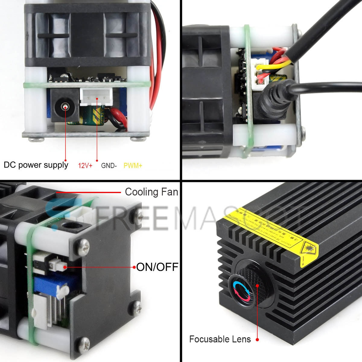 CWLASER 100mW 1.6W 3W 5W Blue Laser Module for DIY Laser Engraver Laser Head with 12V and PWM Control (Black) enlarge