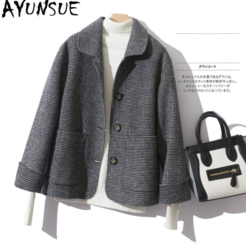AYUNSUE 100% Wool Coat Female Long Jacket Short Spring Autumn Overcoat Women Short Houndstooth Korean Jackets Coats 7593 KJ2873
