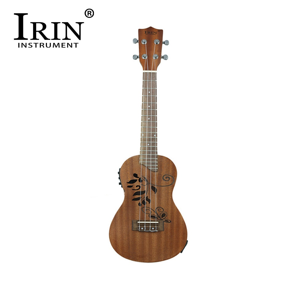 IRIN 24 Inch Ukulele With EQ 4 Strings Hawaiian Guitar Sapele Hollow Carved Flower Electroacoustic Ukulele Musical Instrument
