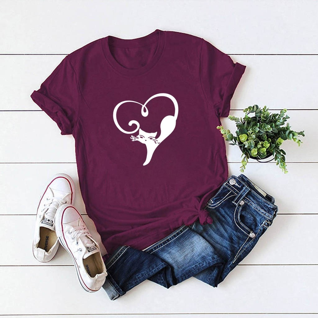 JAYCOSIN Solid Color Women T-shirt Top Love Cat Printed Letters Short Sleeves Casual T Shirt Daily L