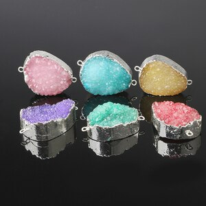 DRF132 More Color Water Drop Druzy Pendant Electroplating Natural Stone Drusy Pendant Necklace Connectors 20*30mm-26*35mm