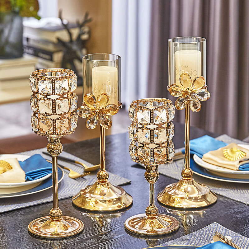 Crystal Luxury Creative Candle Holder Romantic Dinner Nordic Simple Candle Holders Modern Home Kaarsenhouder Home Decor BN50CH