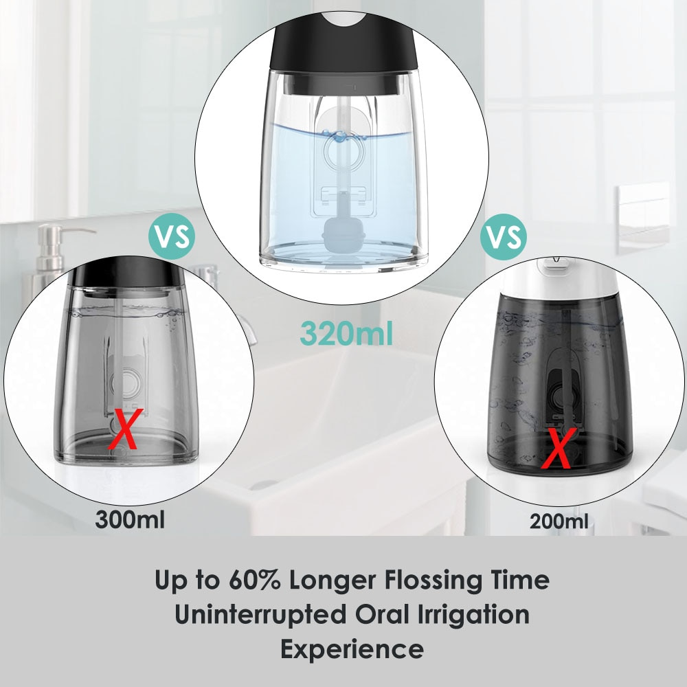 6 Modes Cordless Oral Irrigator USB Rechargeable Water Flosser 320ML Professional Dental Oral Irrigator with 6 Jet Nozzles enlarge
