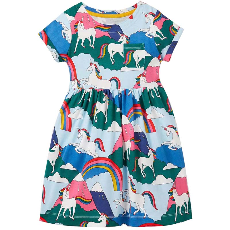 AliExpress - Unicorn Summer Girls Dress 100% Cotton Clothing Casual Children Dresses For Kids 2-8 Year New In 2021 Short-sleeved Clothes