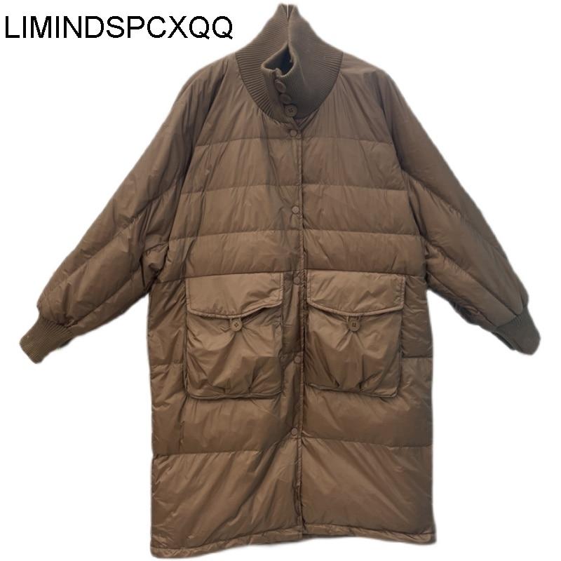 Зимние женские пуховики 2021, утепленное длинное пальто с воротником-стойкой, свободная теплая верхняя одежда, женские пуховики на белом утин...