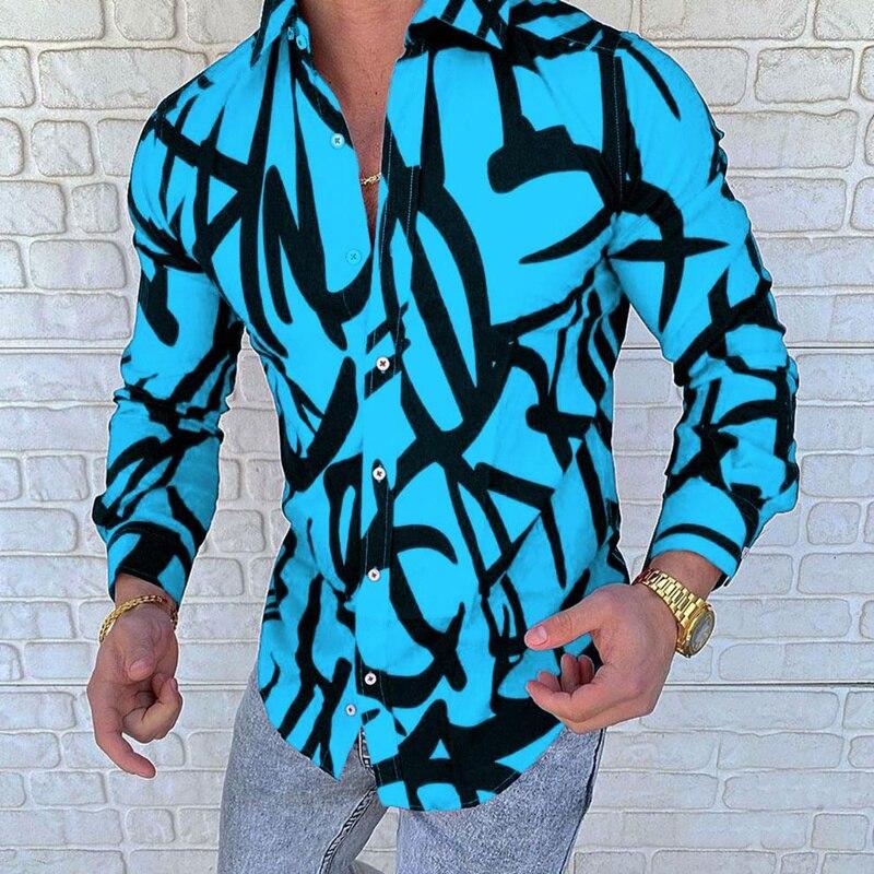 Мужская рубашка с длинным рукавом, новая роскошная золотистая синяя рубашка, мужская приталенная рубашка с длинным рукавом, Мужская класси...