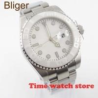 Bliger 40mm Luxury No Lg Miyota Mechanical Automatic wrist watch men waterproof white dial luminous sapphire Ceramic Bezel 953