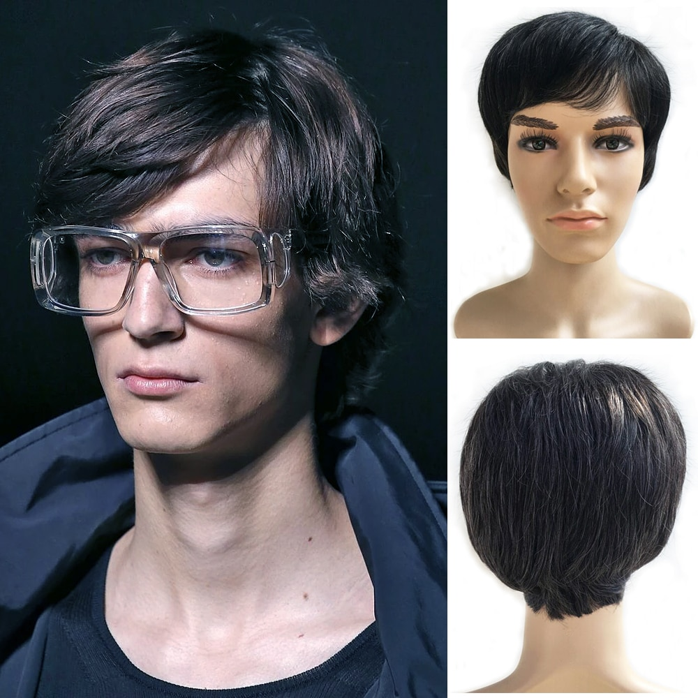 Short Men Wig Straight Synthetic Wig For Middle-aged And Elderly Men Male Hair Fleeciness Realistic Natural Toupee Wigs