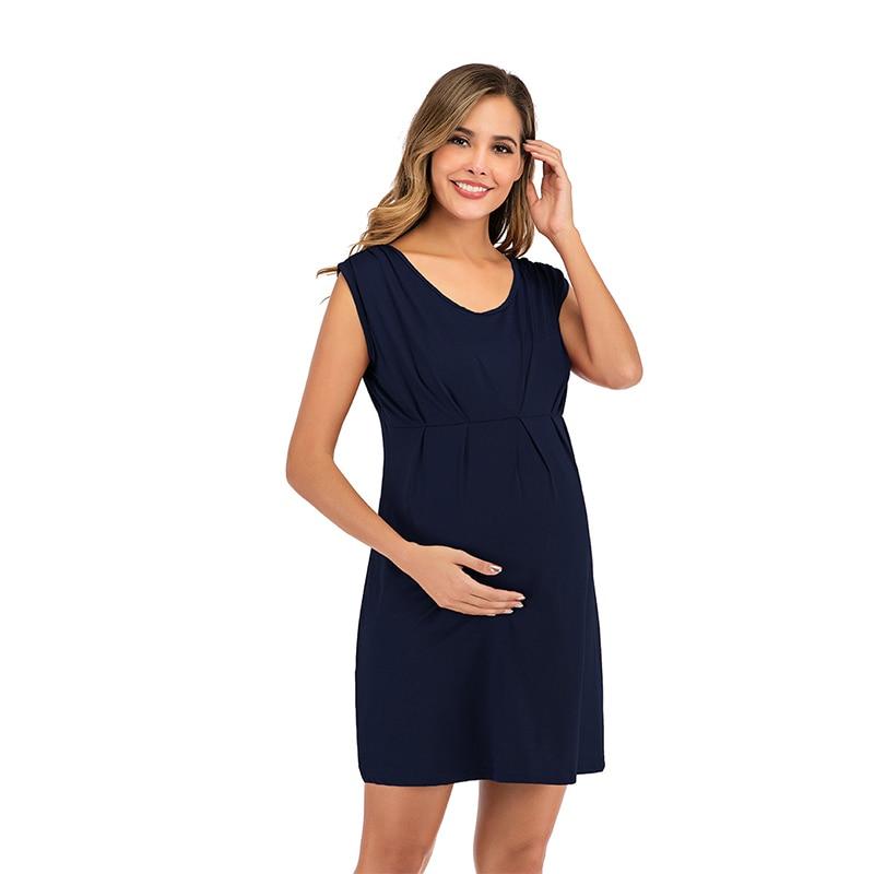 Summer New Womens Pregnant Maternity Clothes Nursing Dress Sleeveless Solid Breastfeeding Clothing ropa premama embarazadas enlarge