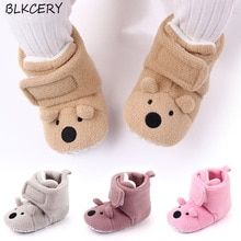 Fashion Brand Newborn Baby Shoes Cartoon Bear Baby Girl Booties Anti-Slip Slippers Winter Warm First