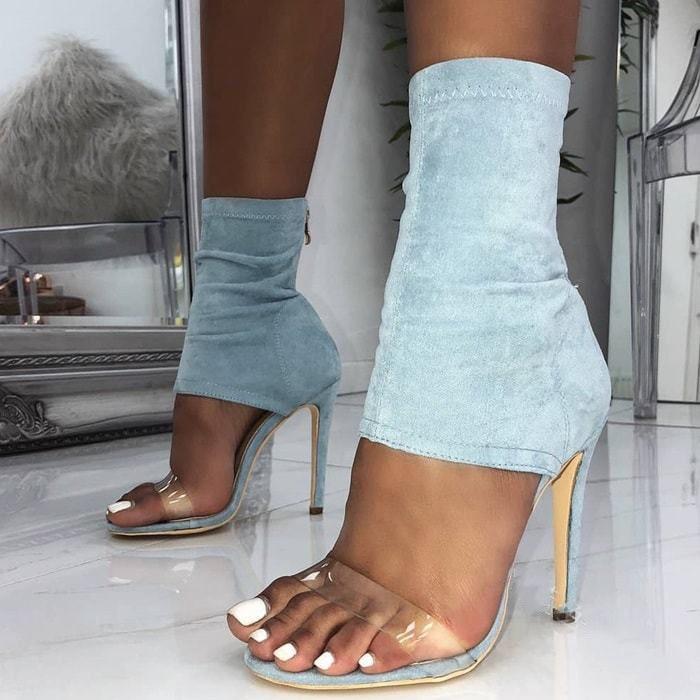 2019, Sandalias de tacón alto para mujer, con cremallera, de cristal, PVC, sexy, con punta abierta, tacón fino, zapatos de verano elásticos de mezclilla para mujer