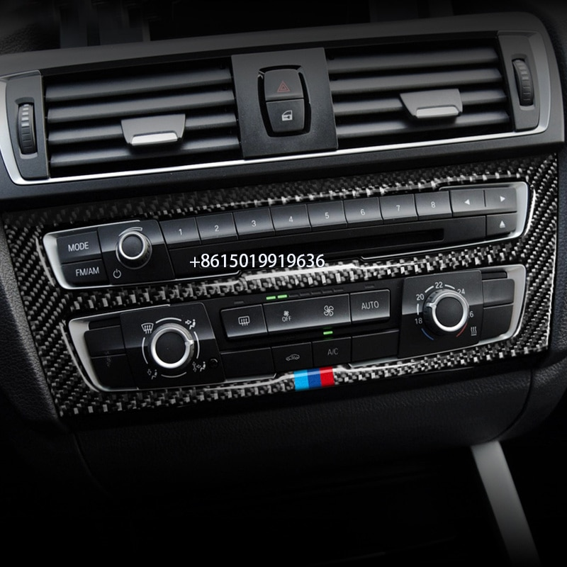 Para BMW 1 serie 2 panel de control central fibra de carbono aire acondicionado interior salida de aire amortiguador pegatina decorativa