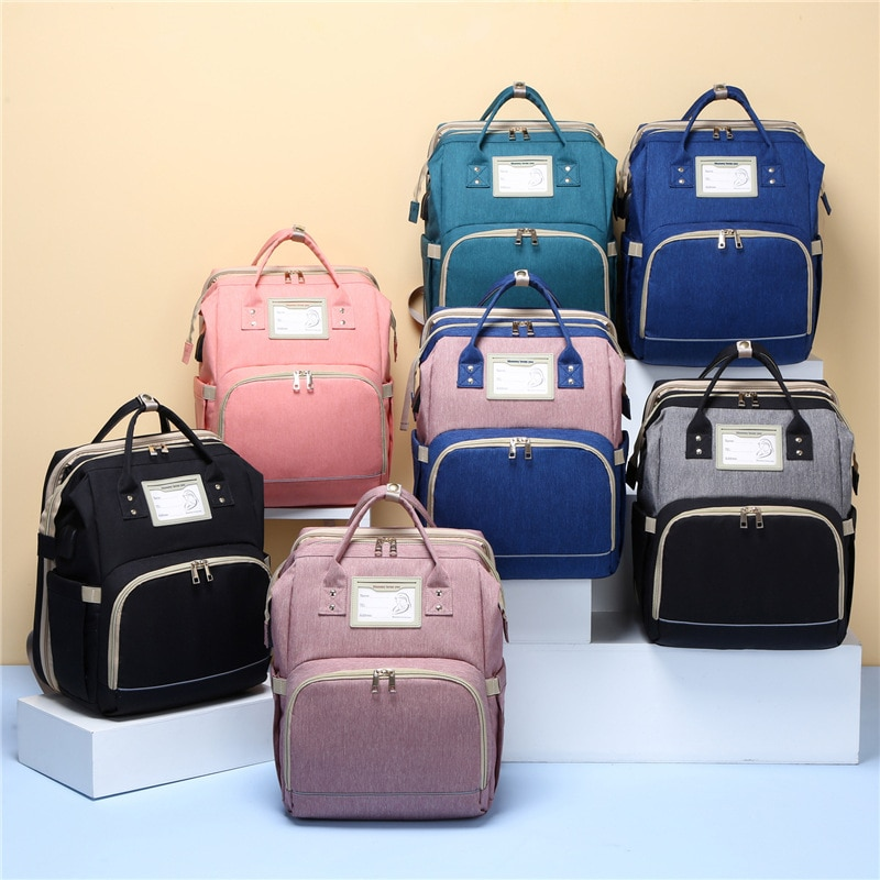 Collapsible Fashion Large Capacity Mummy Maternity Nappy Bag Diaper Bag Travel Backpack Feeding Baby Bag