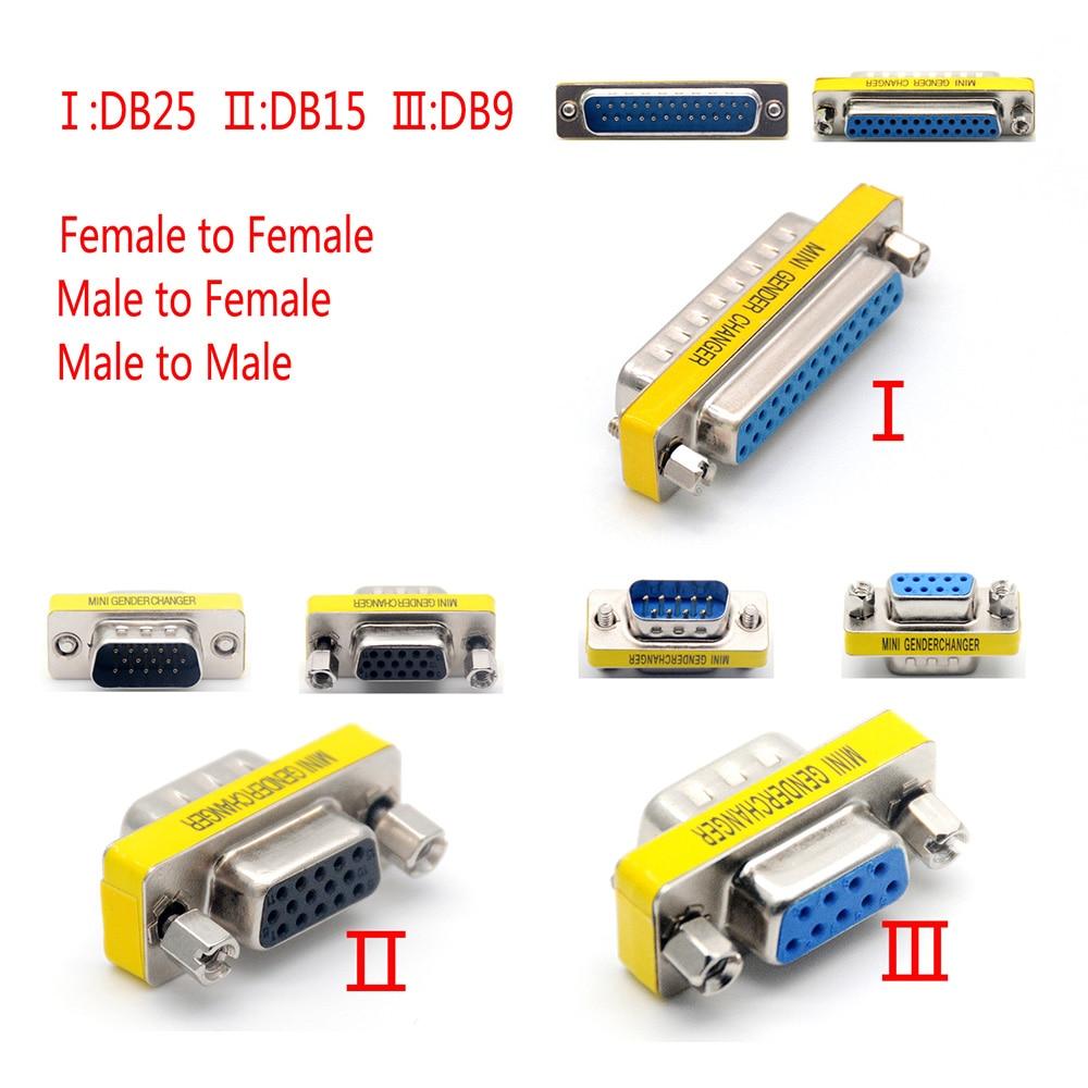 DB Series D-SUB DB9 DB15 DB25 9/15/25 Pin Male/Female to Male/Female RS232 Port VGA Connector M-F M-M F-F Gender Changer Adapter недорого