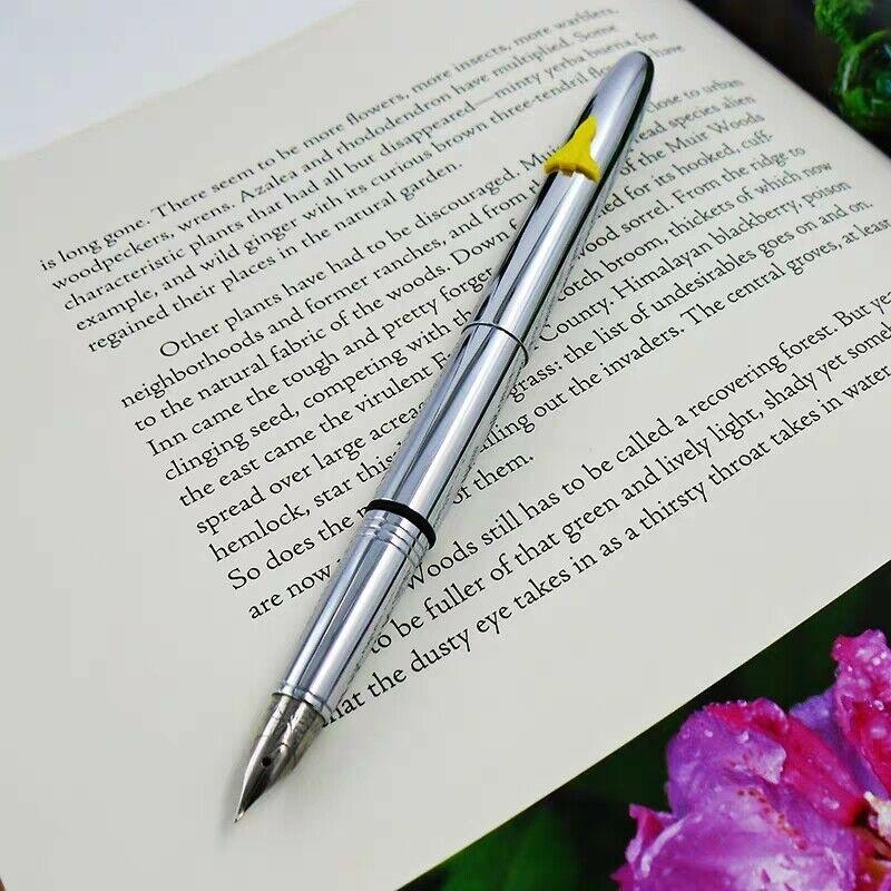 Wing Sung 60 Fountain Pen Pocket Mini All Steel Ink Pen Aerometric Filling System Fine Nib Stationery Office school supplies