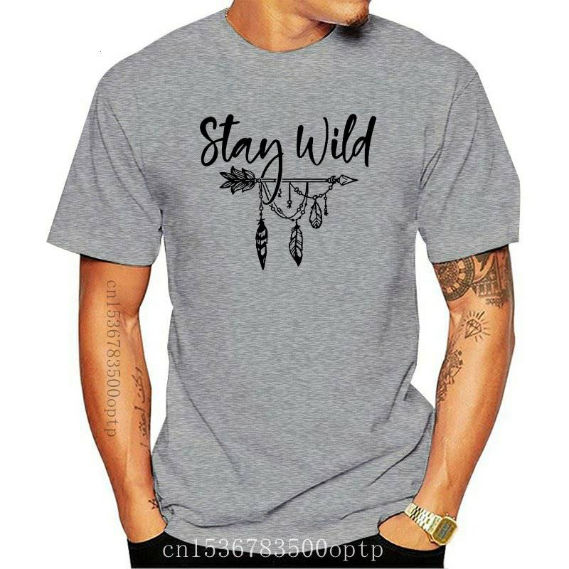 Stay Wild T-shirt Stylish Women Boho Tshirt Vintage Summer Short Sleeve 90s Graphic Camping Tee Shirt Top vestido Dropshipping