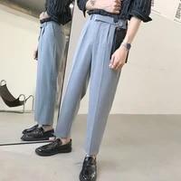 formal suit pants mens korean version of loose evening dress suit pants mens solid color wide leg straight leg pants men