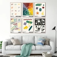modern structure abstract poster print color line texture shape form space value canvas painting pictures office room wall decor