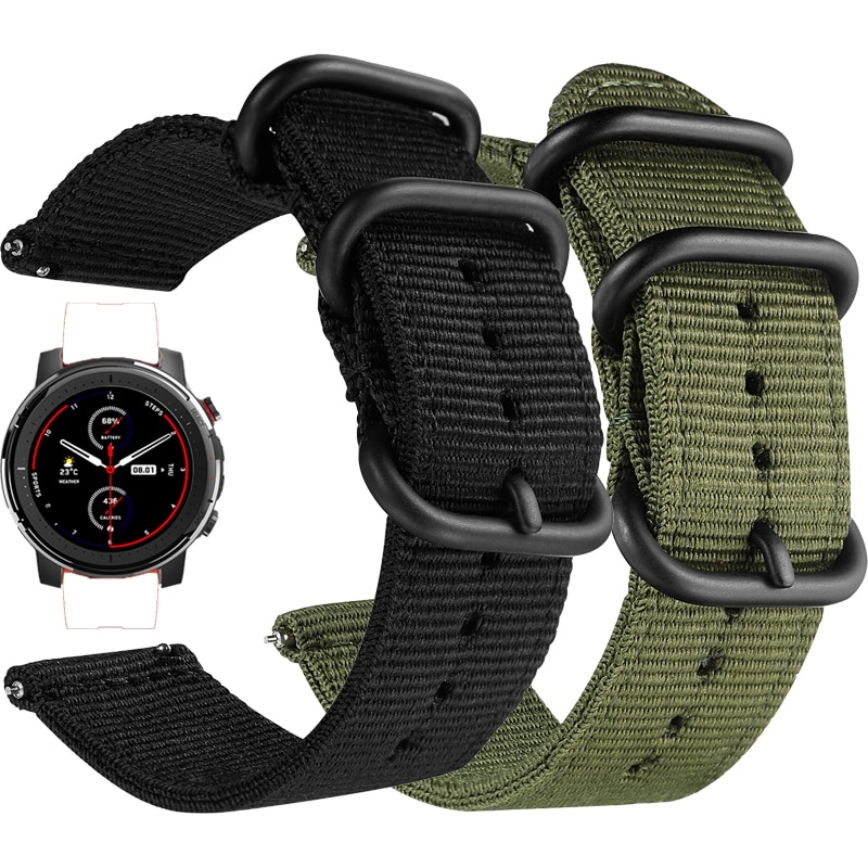 22mm bracelet strap for xiaomi huami amazfit pace stratos 2 gtr 47mm band for samsung gear s3 pulsera for huawei 2 pro gt correa Nylon canvas Strap for Xiaomi huami Amazfit Stratos 3 2 2S /PACE/GTR 47MM Watch Band for Huawei Watch GT GT2 46mm Straps