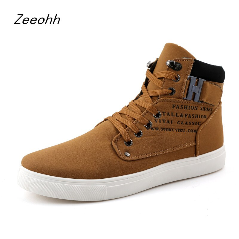 Zapatos de moda para hombre, Zapatillas altas, zapatillas transpirables con cordones para hombre, calzado plano Retro de alta calidad, zapatos de hombre