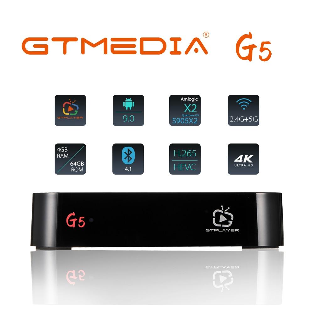GTmeid-G5 Android TV Box 9.0 ، 4GB ، 64GB ، 4K ، H.265 ، مشغل وسائط ، فيديو ثلاثي الأبعاد ، مساعد Google ، Netflix ، 2.4G ، 5GHz ، Wifi ، Bluetooth ، تلفزيون ذكي