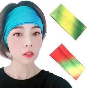 Женская спортивная повязка на голову для йоги, широкий неоновый ободок с цветным градиентом из молочного волокна, впитывающий пот, Эластичн...