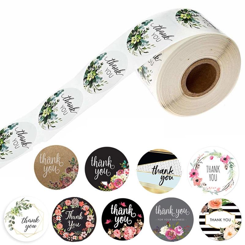 pegatinas-de-agradecimiento-floral-1-pulgada-sello-redondo-hecho-a-mano-sobre-de-scrapbooking-adhesivo-de-papeleria-10-estilos-50-uds-wad